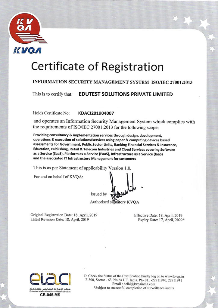 iso 27001 edutest solutions private limited, Online Exam Conducting Agency