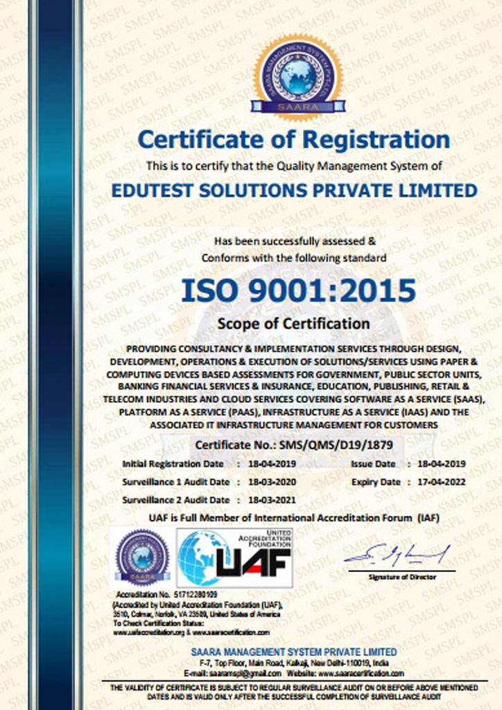 iso-9001-2015, Paper Based Examination Solution